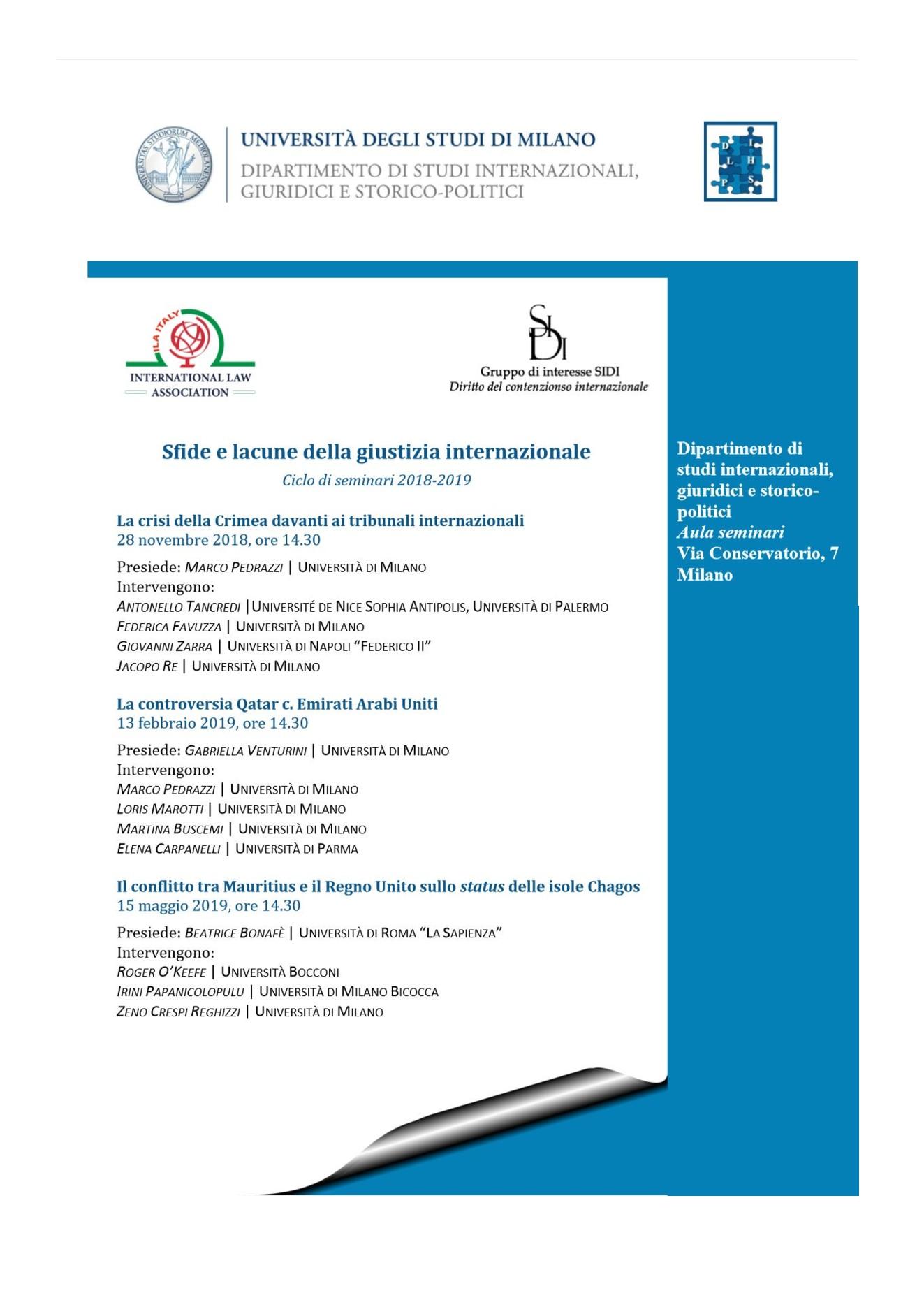 ILA Italian Branch: 2nd Seminar on International Justice - La controversia  Qatar c. Emirati Arabi Uniti