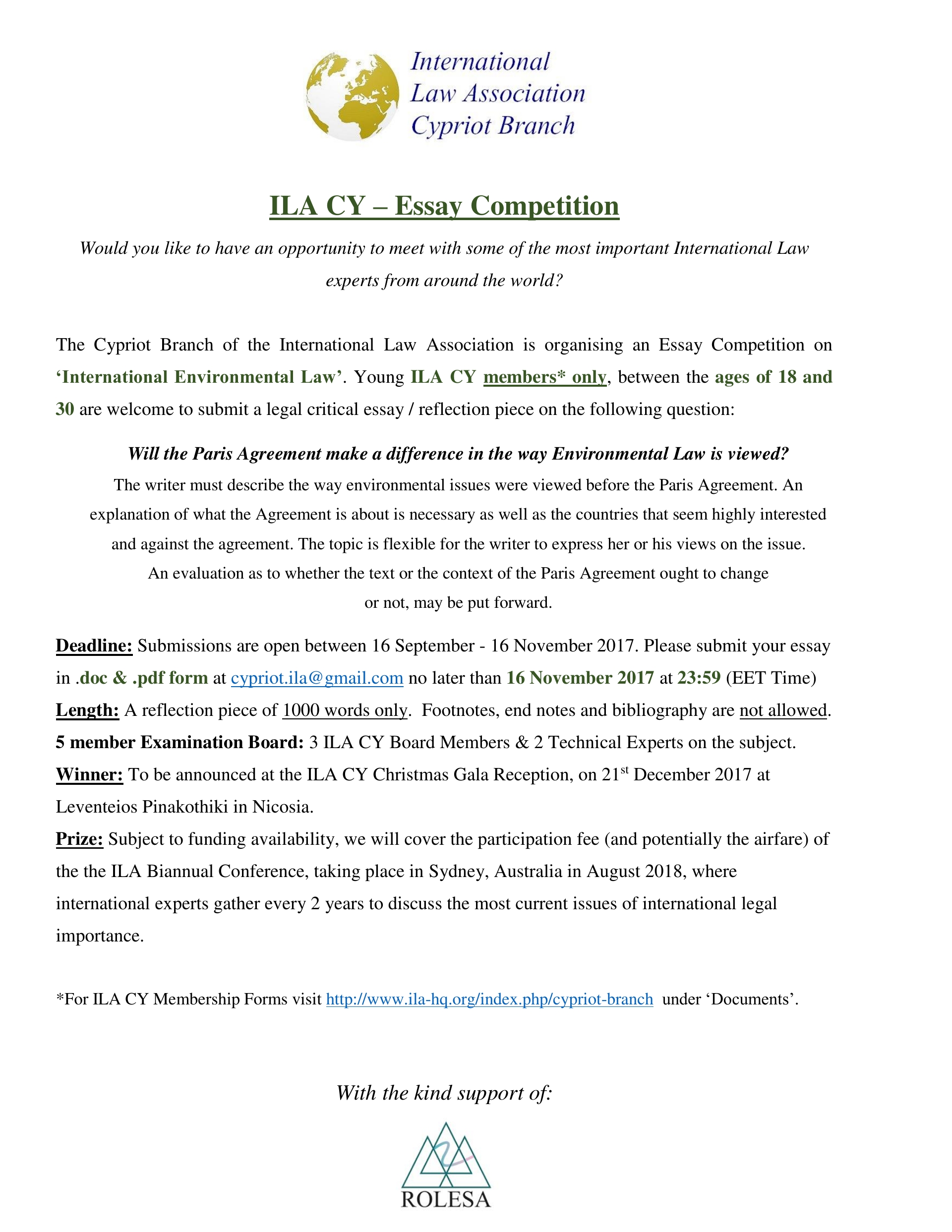 news ila cypriot branch young members essay competition on international environmental law